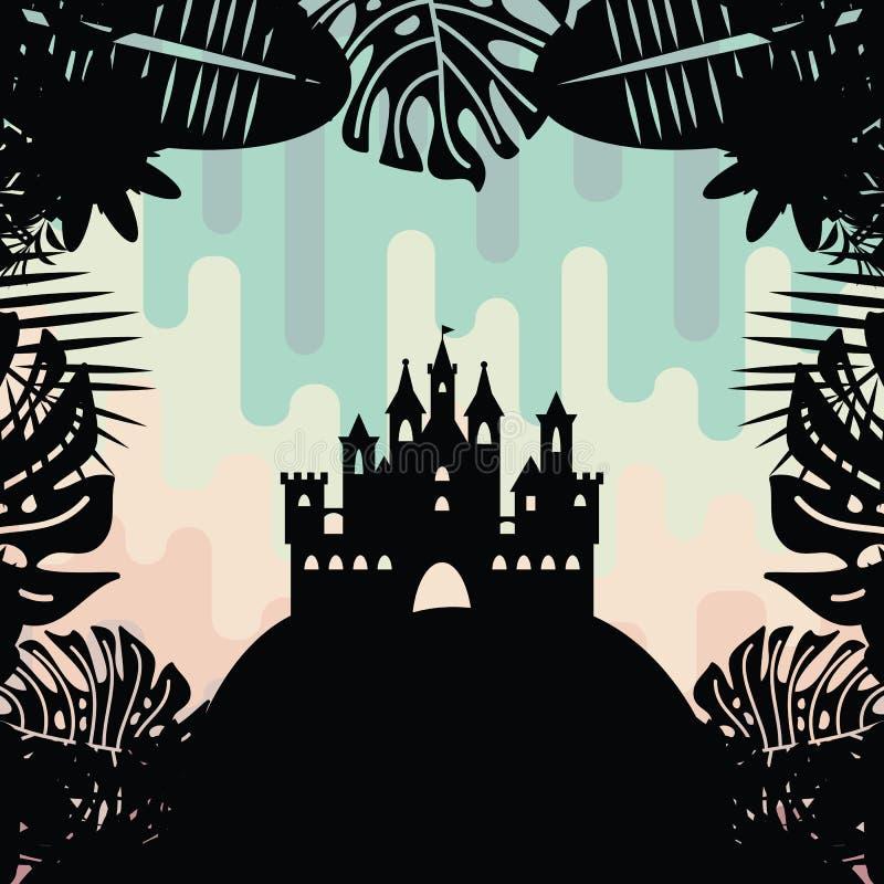 Arco iris agradable del castillo ilustración del vector