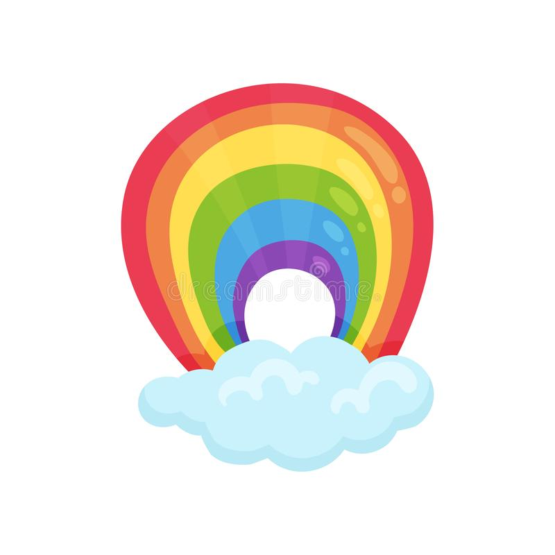 Arco iris arqueado multicolor y nube mullida azul Elemento plano del vector para el libro de niños, el juego móvil o la decoració ilustración del vector