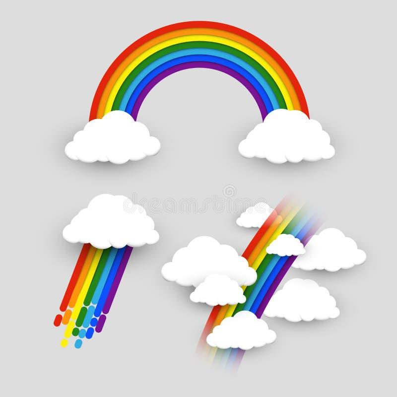 Arco iris colorido con el sistema del vector de las nubes ilustración del vector
