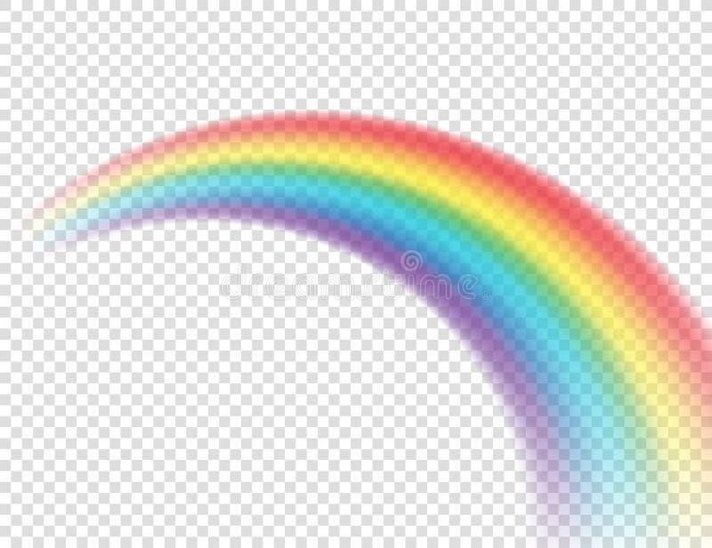 Arco iris colorido realista del extracto en fondo transparente Ilustraci?n del vector ilustración del vector