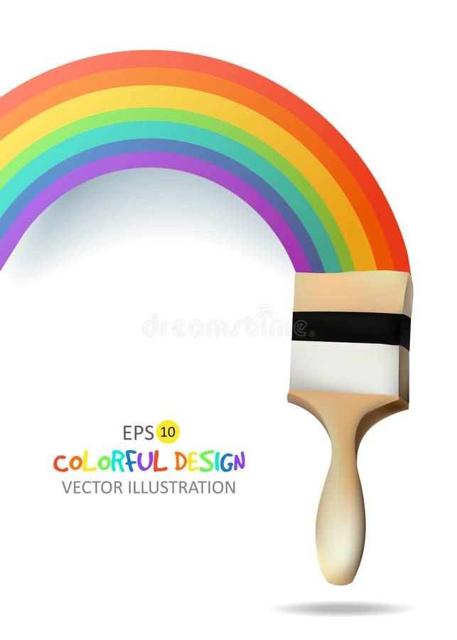 Arco iris con el cepillo Fondo abstracto del colorfull Ilustración del vector ilustración del vector
