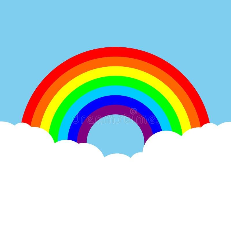 Arco iris con el fondo colorido de las nubes ilustración del vector