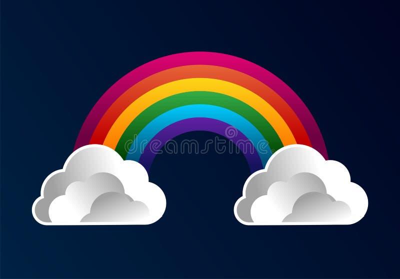 Arco iris con el fondo de la historieta de las nubes stock de ilustración