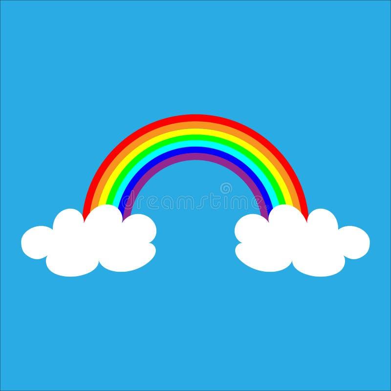 Arco iris con las nubes blancas, ejemplo del color del vector en fondo azul libre illustration