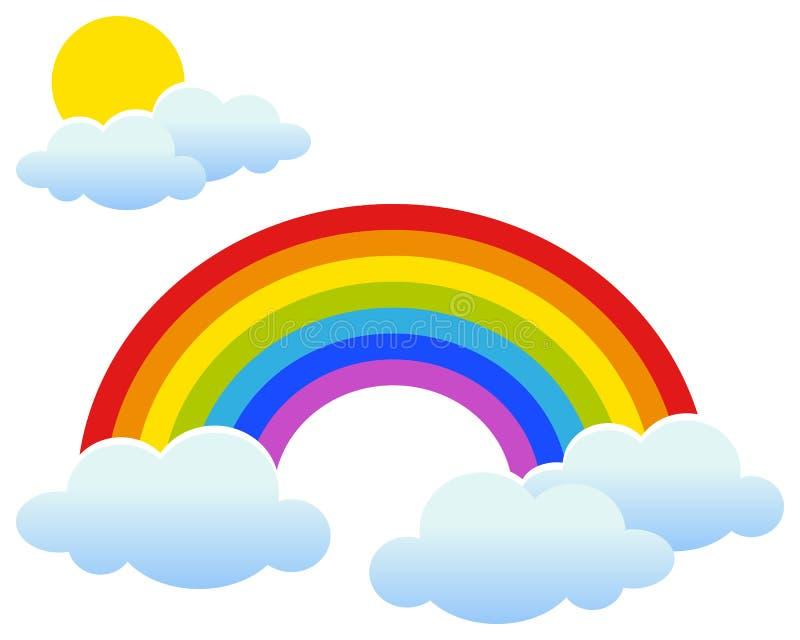 Arco iris con Sun y las nubes ilustración del vector