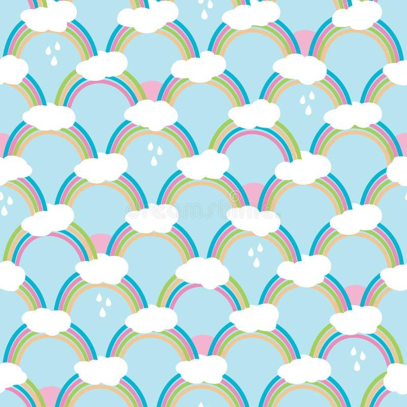 Arco iris con las nubes y las gotas de lluvia Modelo inconsútil lindo, ejemplo del vector de la historieta para la tela del cuart libre illustration