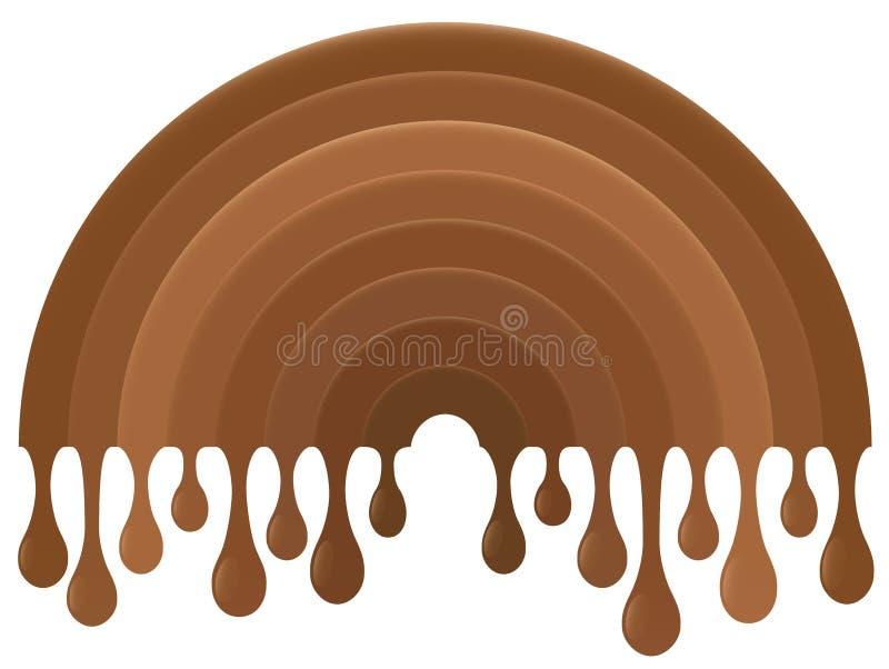 Arco iris de goteo del chocolate ilustración del vector