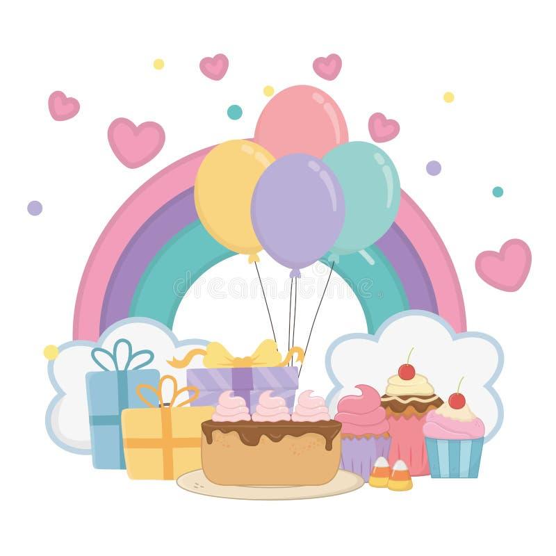 Arco iris de Kawaii y diseño del feliz cumpleaños ilustración del vector