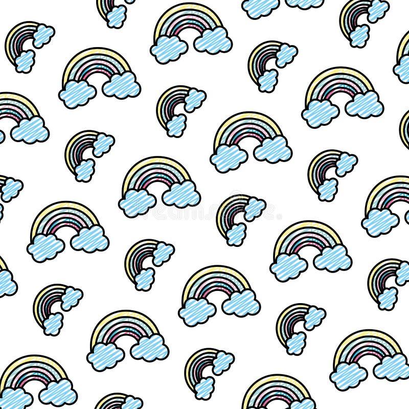 Arco iris de la belleza del garabato con el fondo mullido de las nubes libre illustration