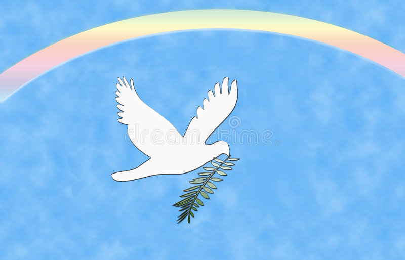 Arco iris de la paloma de la paz ilustración del vector