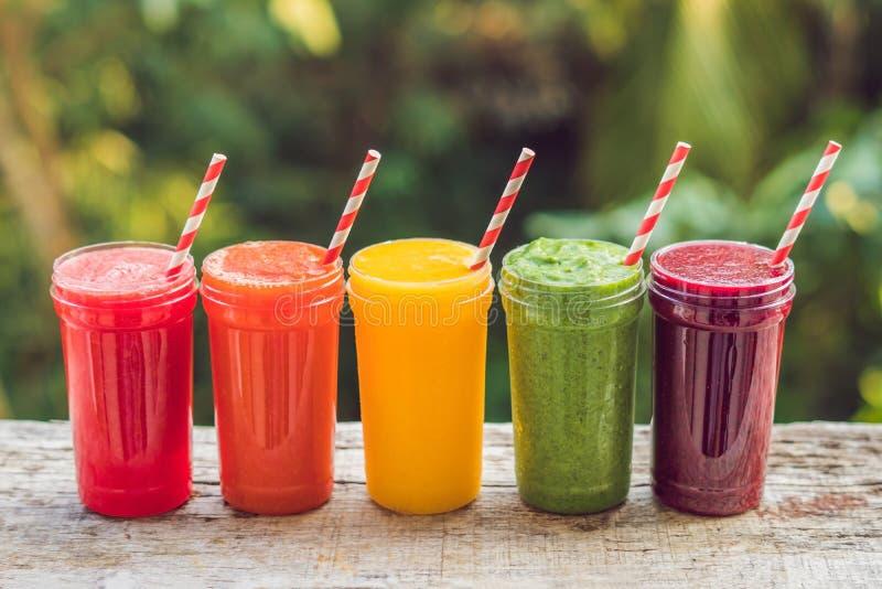 Arco iris de los smoothies La sandía, la papaya, el mango, la espinaca y el dragón dan fruto Los Smoothies, jugos, bebidas, beben fotografía de archivo libre de regalías
