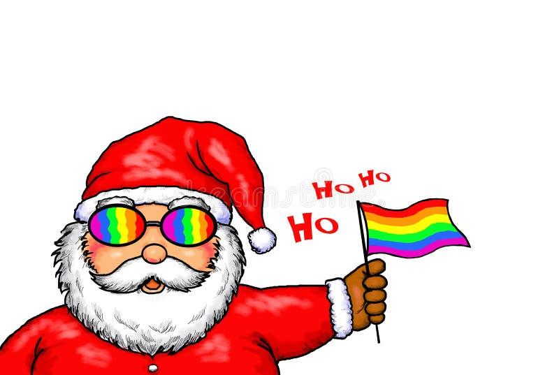 Arco iris de Santa Claus Merry Christmas Gay Pride ilustración del vector