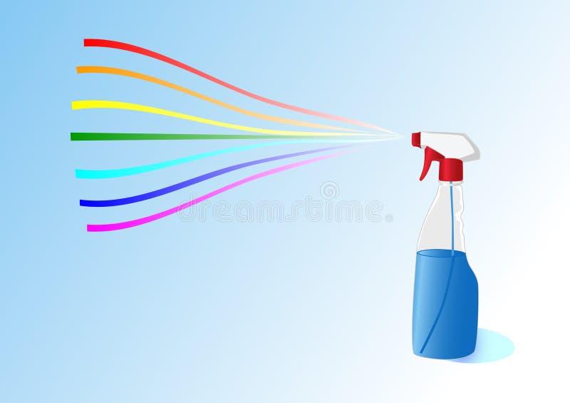 Arco iris de una botella con un aerosol libre illustration