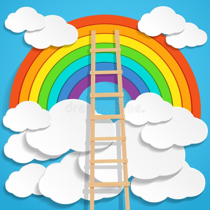 Arco iris del color con las nubes y la escalera de madera en fondo del cielo azul ilustración del vector