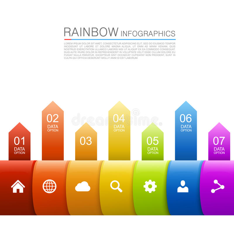 Arco iris del crecimiento del negocio de las flechas ilustración del vector