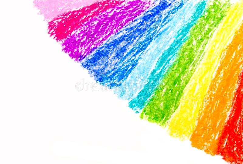 Arco iris del dibujo de la mano del creyón de cera stock de ilustración