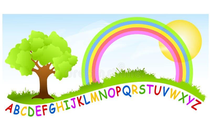 Arco iris del patio del alfabeto stock de ilustración
