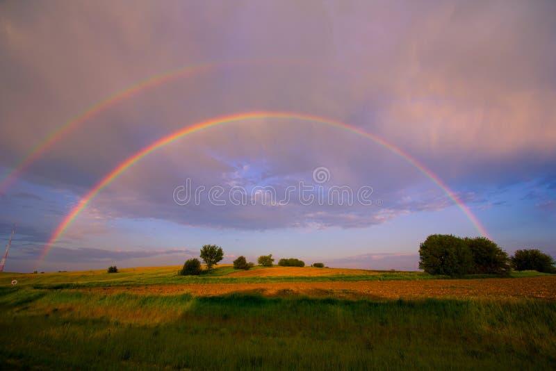 Arco iris doble fotografía de archivo libre de regalías