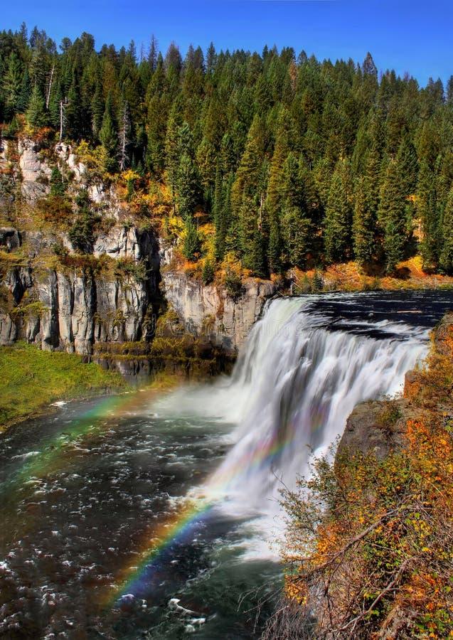 Arco iris dobles en Mesa Falls superior imagen de archivo libre de regalías