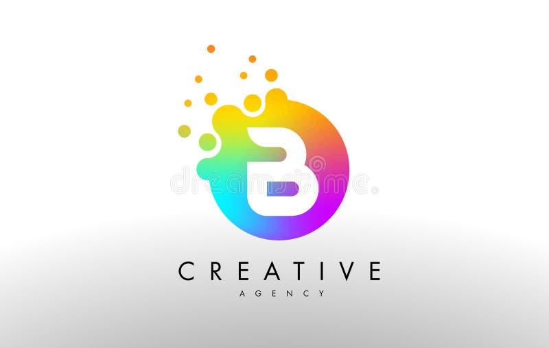 Arco iris Dots Letter Logo de B Vector del diseño de letra ilustración del vector