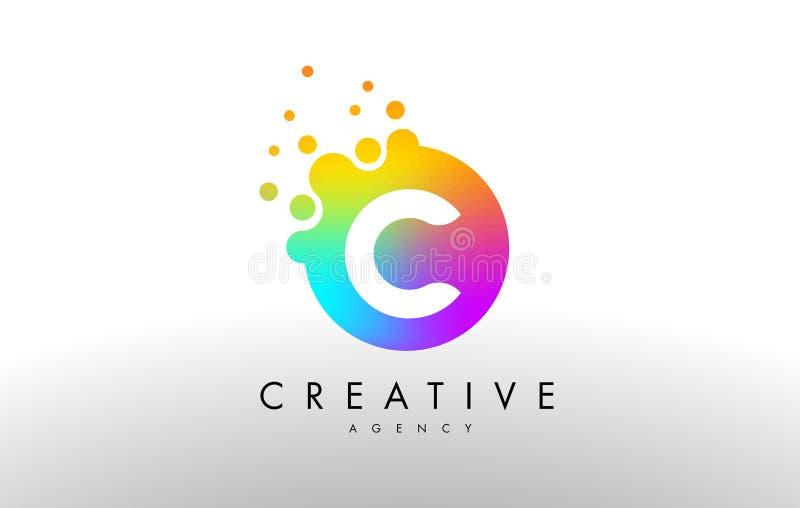 Arco iris Dots Letter Logo de C Vector del diseño de letra con D colorida ilustración del vector