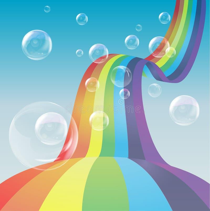 Arco iris en burbujas del cielo azul y de jabón stock de ilustración