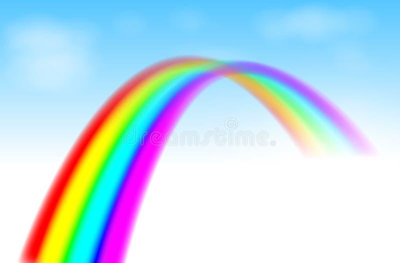 Arco iris en el cielo azul ilustración del vector