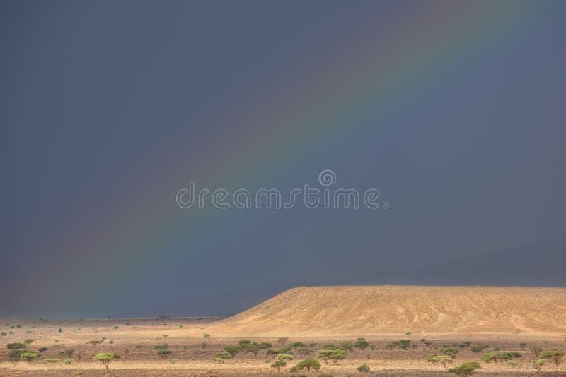 Arco iris en el desierto del S?hara. imágenes de archivo libres de regalías