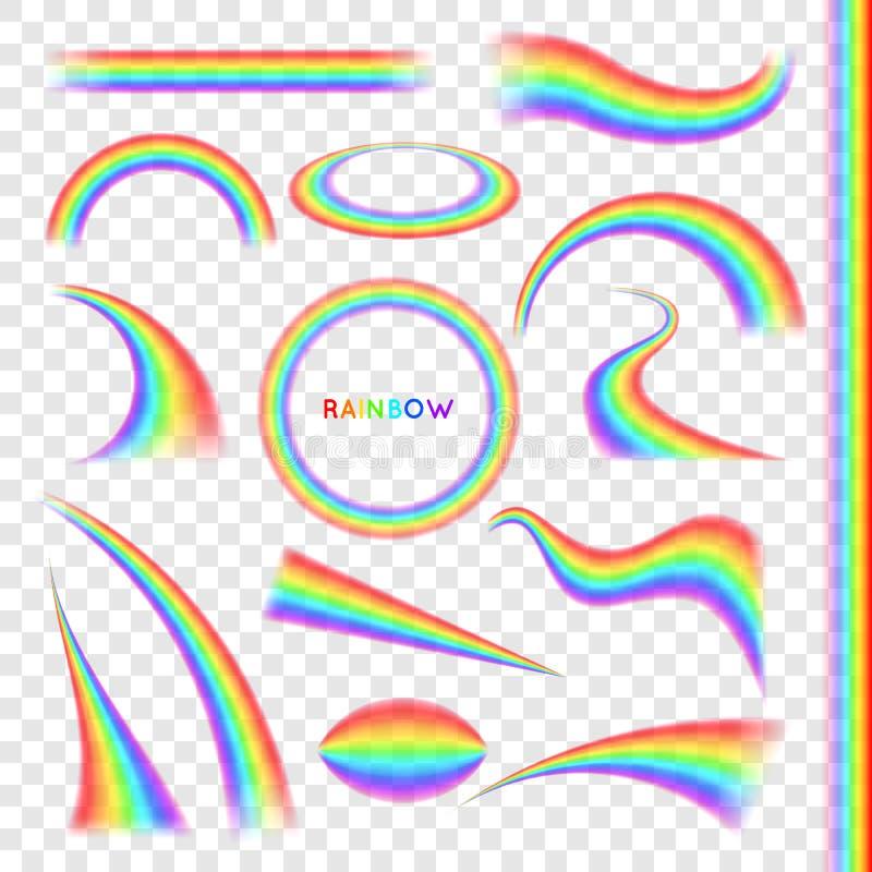 Arco iris en sistema realista de diversa forma ilustración del vector