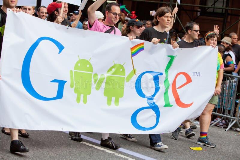 Arco iris Google en NYC imagen de archivo libre de regalías