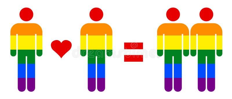 Arco iris Pride Flag Gay Couple Love de LGBT en el ejemplo del vector libre illustration