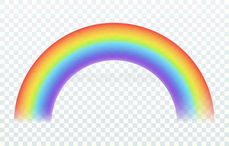 Arco iris realista Efecto iridiscente de la lluvia y del sol de luces del verano del arco del color del cielo alegre de la primav libre illustration