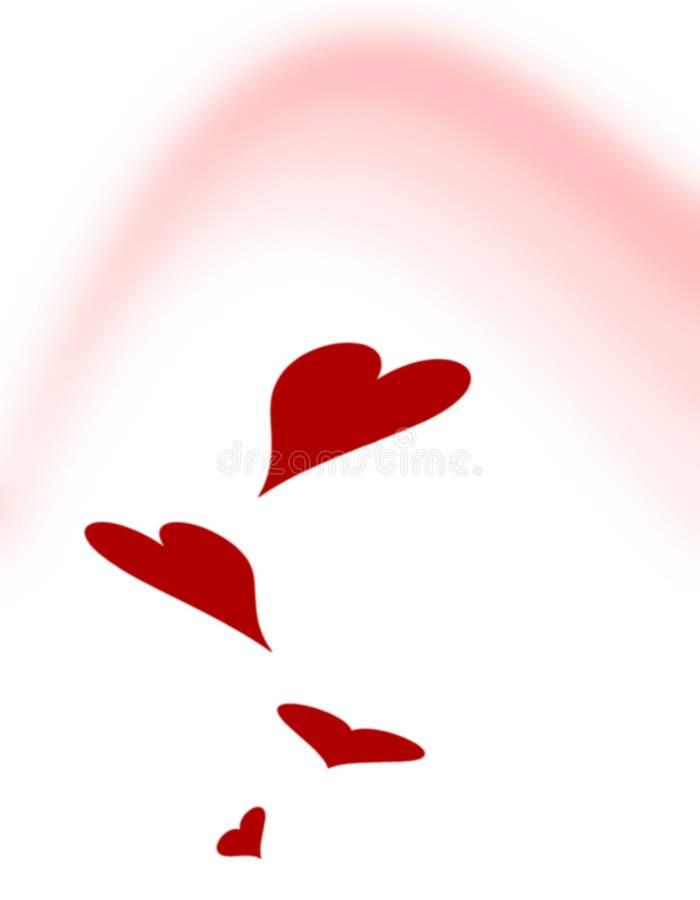 Arco iris rosado de los corazones de la tarjeta del día de San Valentín ilustración del vector