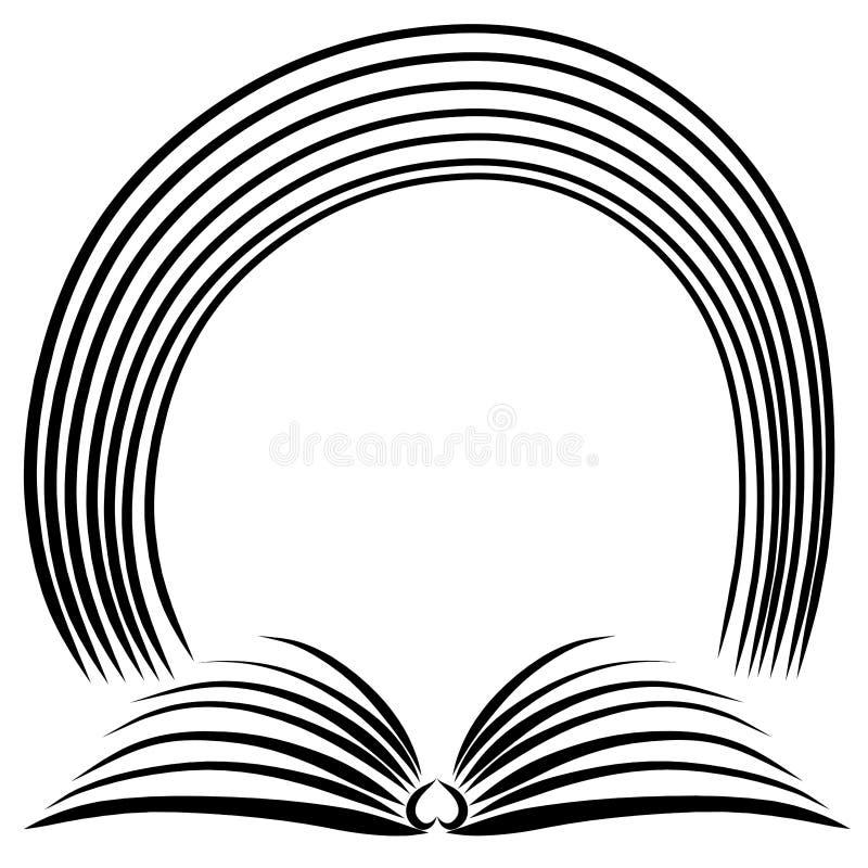 Arco iris sobre el libro abierto, líneas negras stock de ilustración