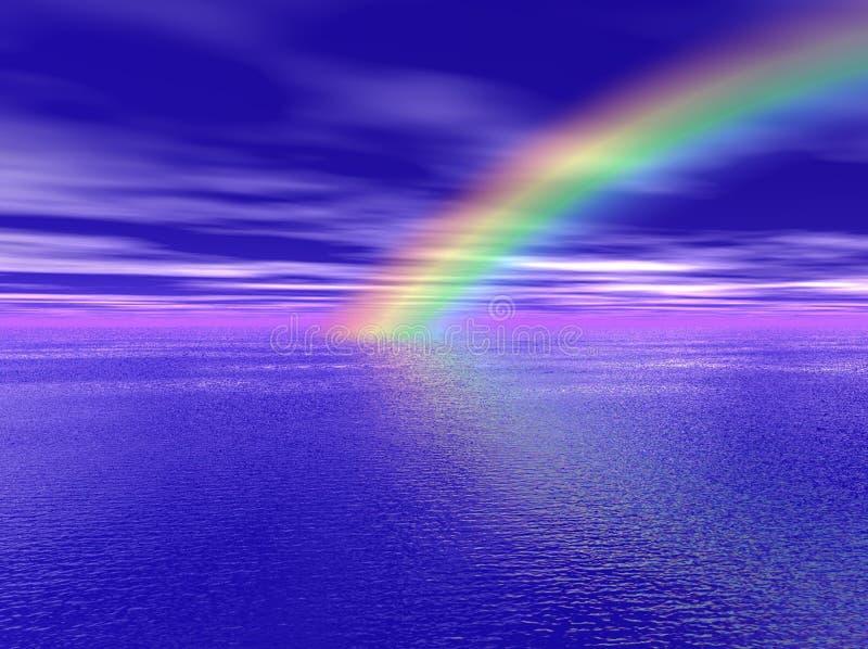 Arco iris sobre el mar stock de ilustración