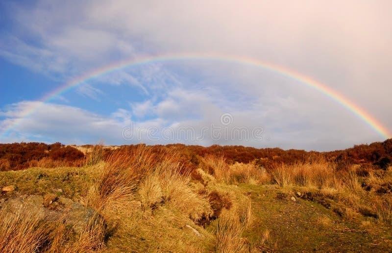 Arco iris sobre la colina del brezo foto de archivo