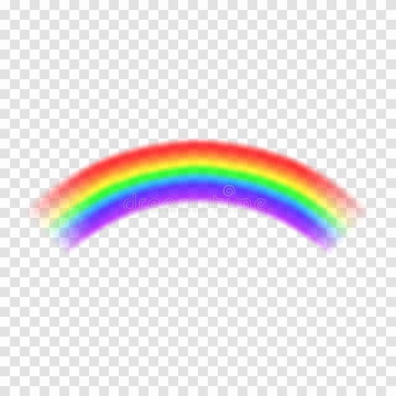 Arco iris transparente del vector aislado en fondo Arco iris en forma del arco Concepto de la fantasía, símbolo de la naturaleza stock de ilustración