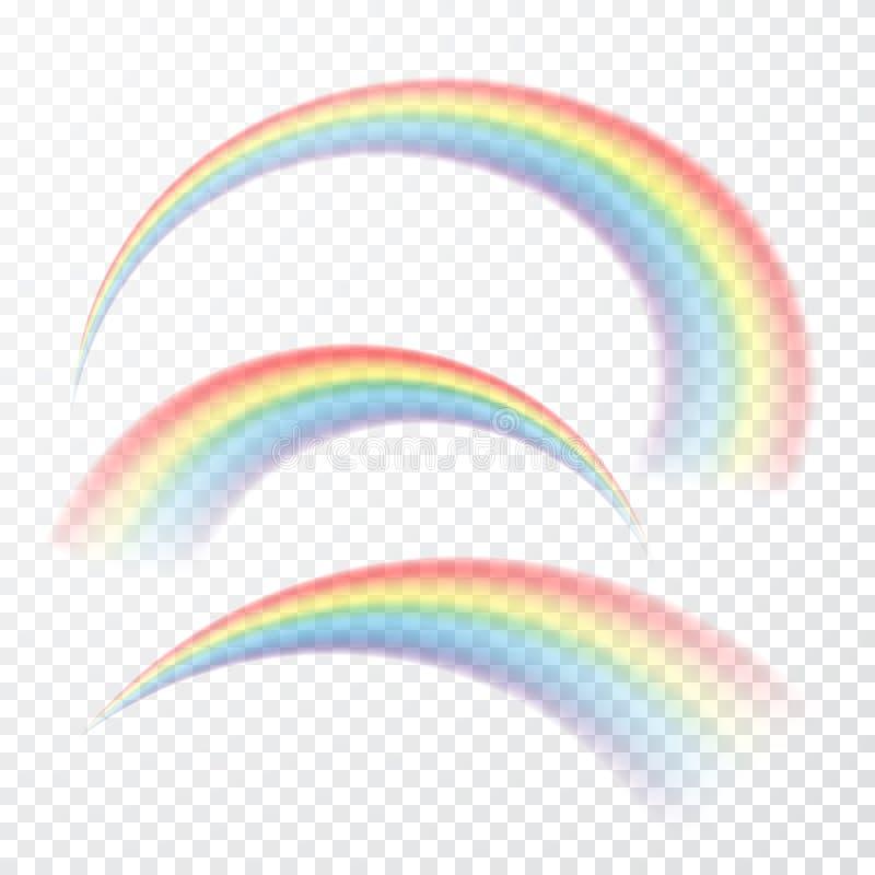 Arco iris transparente Ilustración del vector Raibow realista en fondo transparente libre illustration