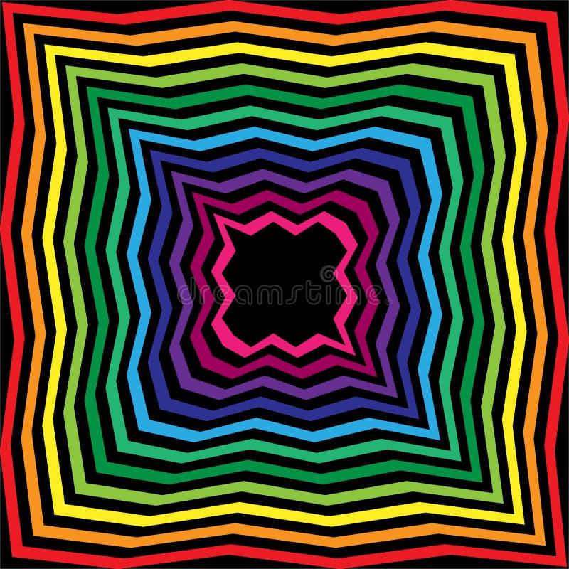 Arco iris y abismo poligonal rayado del negro Fondo abstracto geométrico Conveniente para la materia textil, tela, empaquetando libre illustration