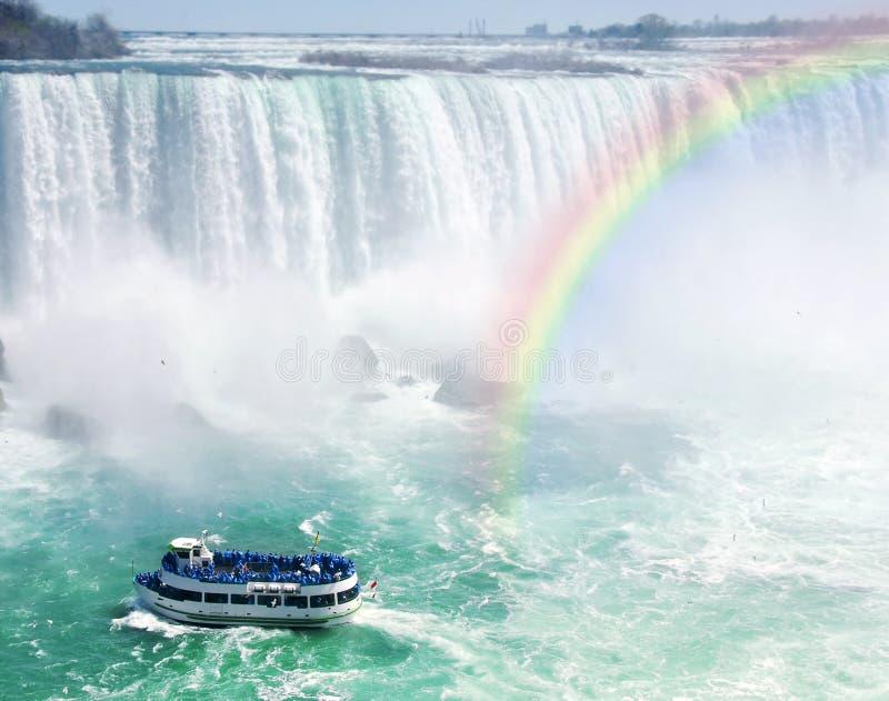 Arco iris y barco turístico en Niagara Falls imagen de archivo libre de regalías