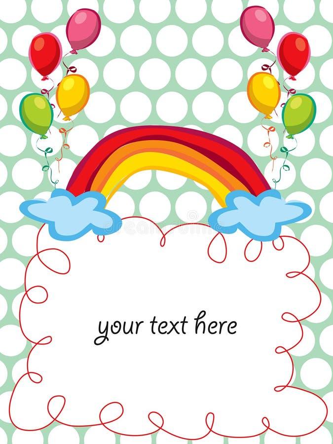 Arco iris y globos que saludan stock de ilustración