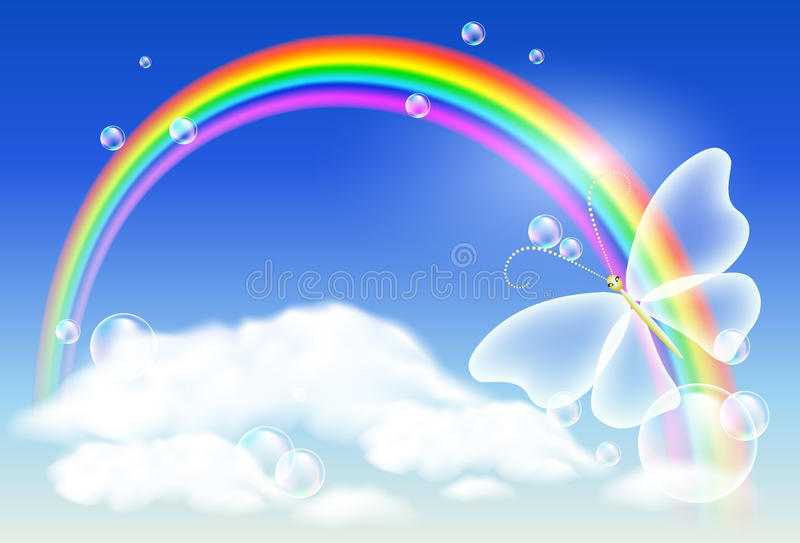 Arco iris y mariposa stock de ilustración