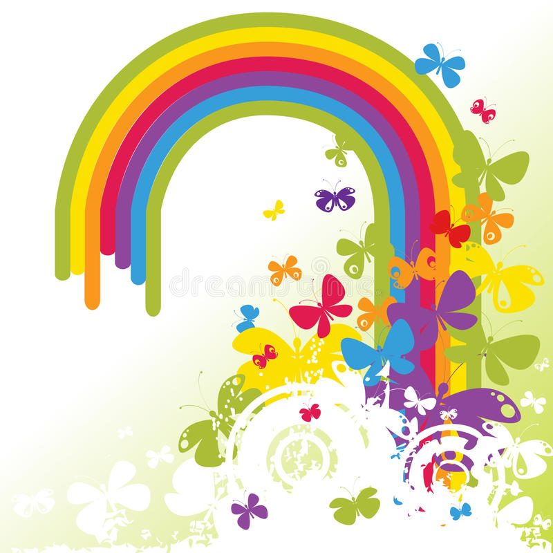 Arco iris y mariposas libre illustration