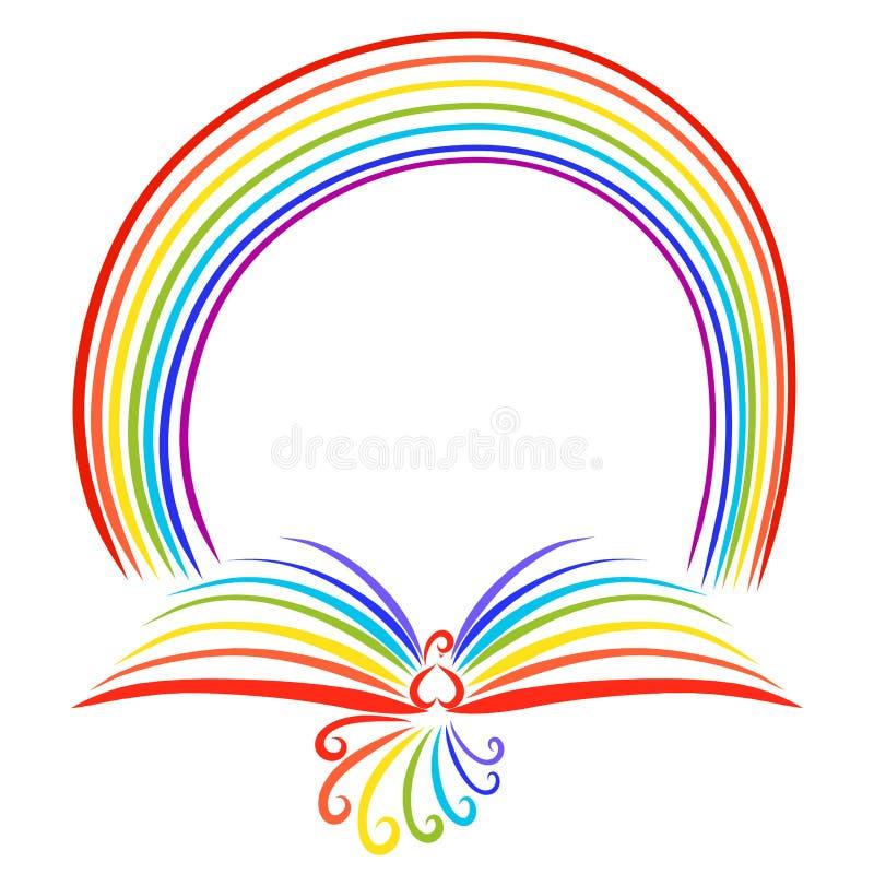 Arco iris y pájaro del arco iris con las alas en la forma de un libro libre illustration