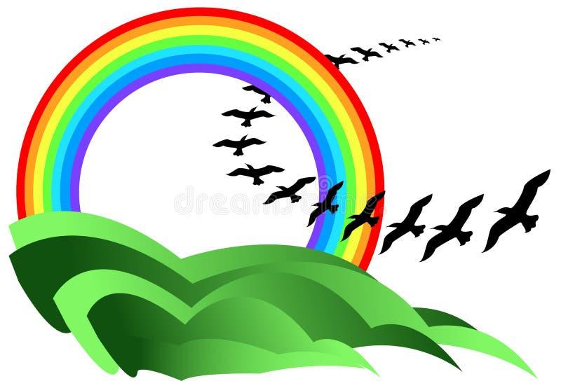 Arco iris y pájaros stock de ilustración