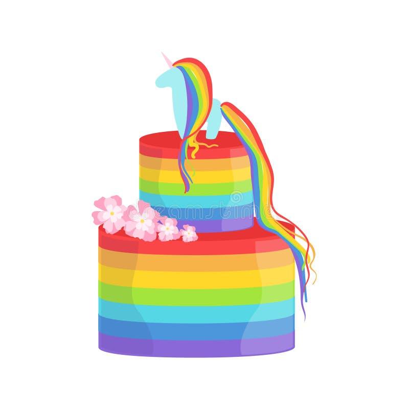 Arco iris y postre grande adornado Unicorn Gay Pride Color Cake del partido de la ocasión especial para casarse o el cumpleaños ilustración del vector