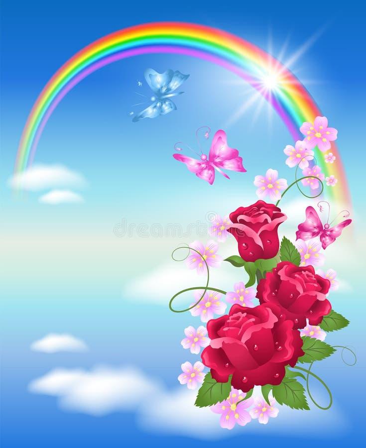 Arco iris y rosas stock de ilustración