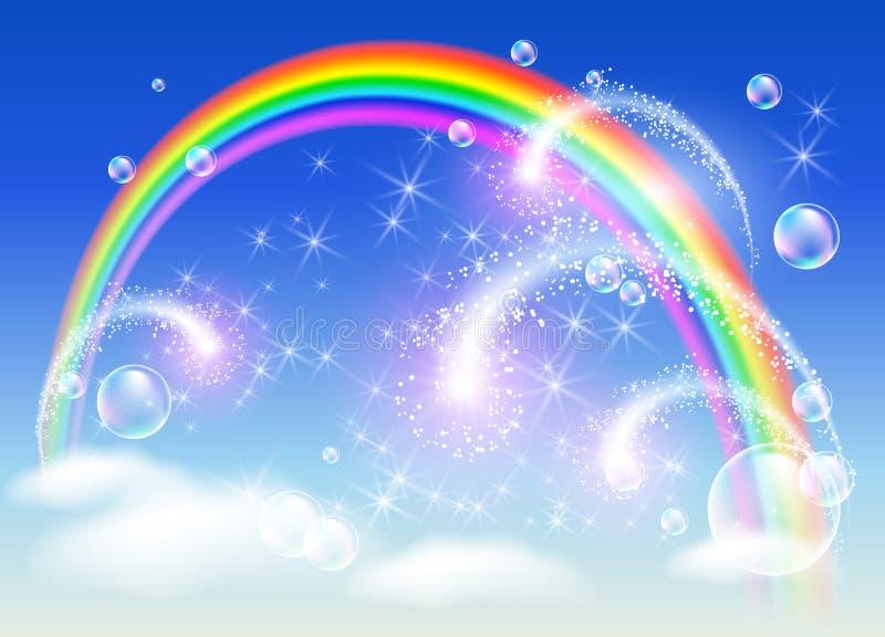 Arco iris y saludo libre illustration