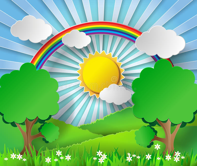 Arco iris y sol de papel abstractos Ilustración del vector libre illustration