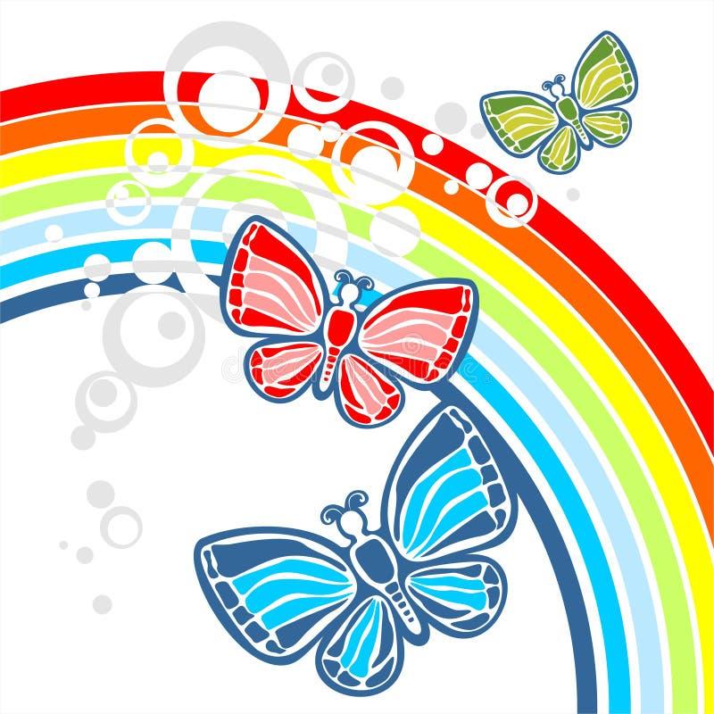 Arco iris y tres mariposas ilustración del vector